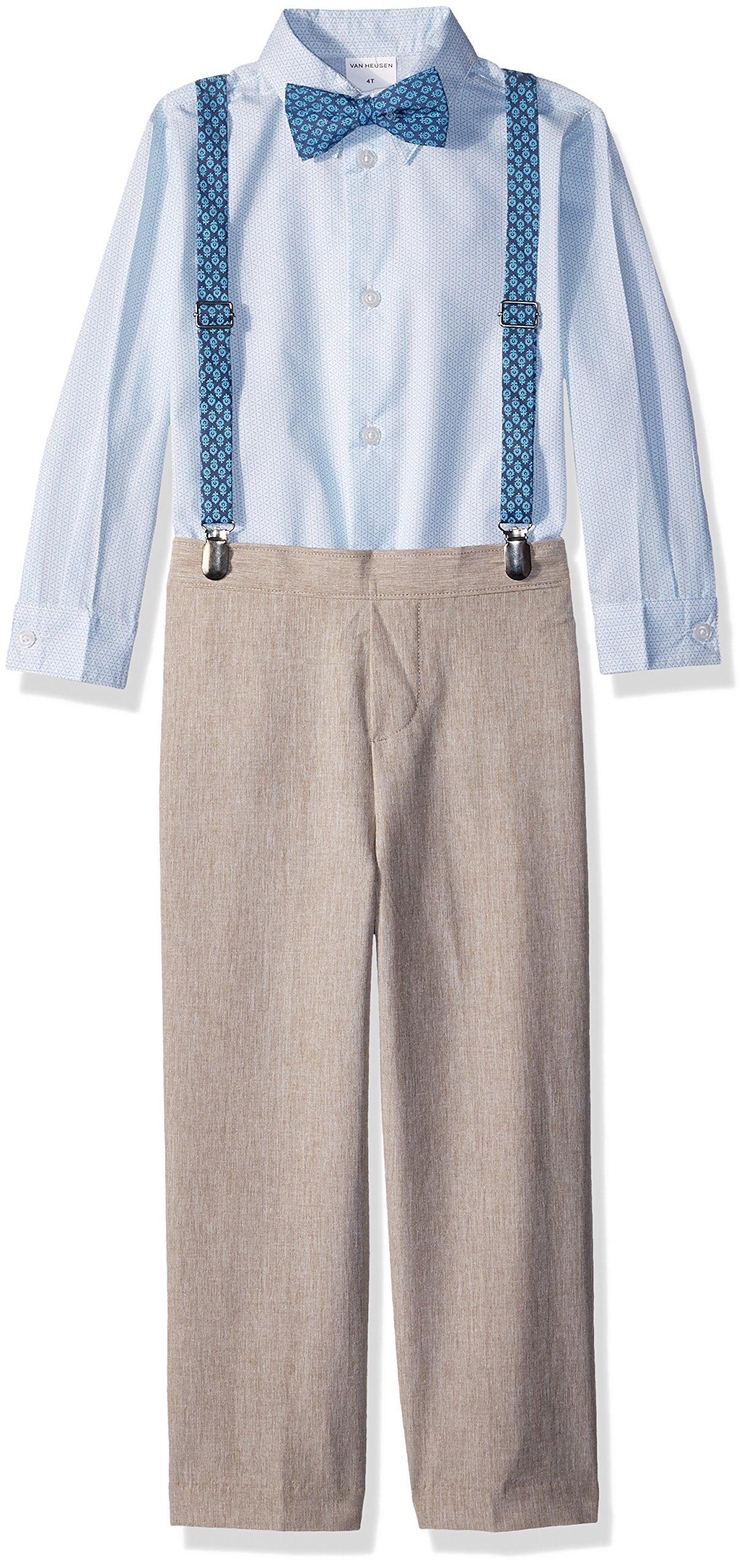 Van Heusen Little Boys' Four Piece Suspender Set, Linen Cornstalk, 5