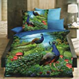 Dream Weaverz Double Bed Peacock Printed Bedsheet With 2 Pillow Covers Of Pure Glaze Cotton - Decor Your Home With Digital Prints - Green