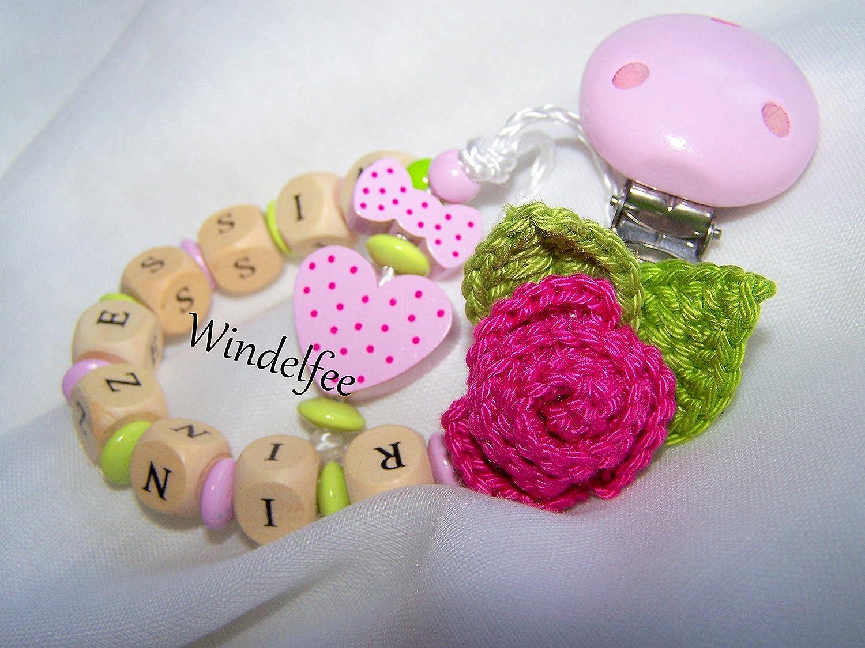Chupete Cadena, nombre, Princesa, diseño Rose, corazón, niña ...