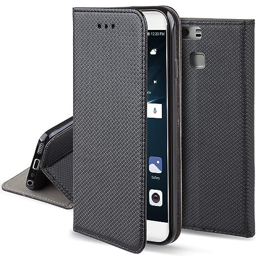 20 opinioni per Cover Huawei P9 Nero- Custodia a libro Flip Smart magnetica de Moozy® con
