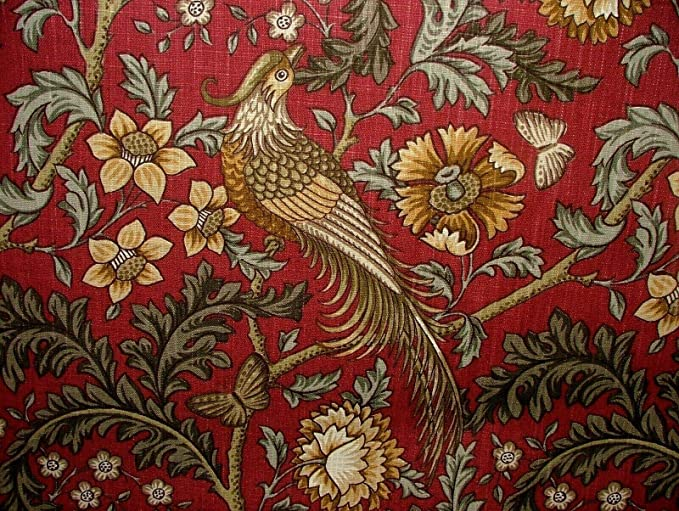 Winslow Carmine Cotton Curtain Upholstery Quilting Fabric William Morris Style