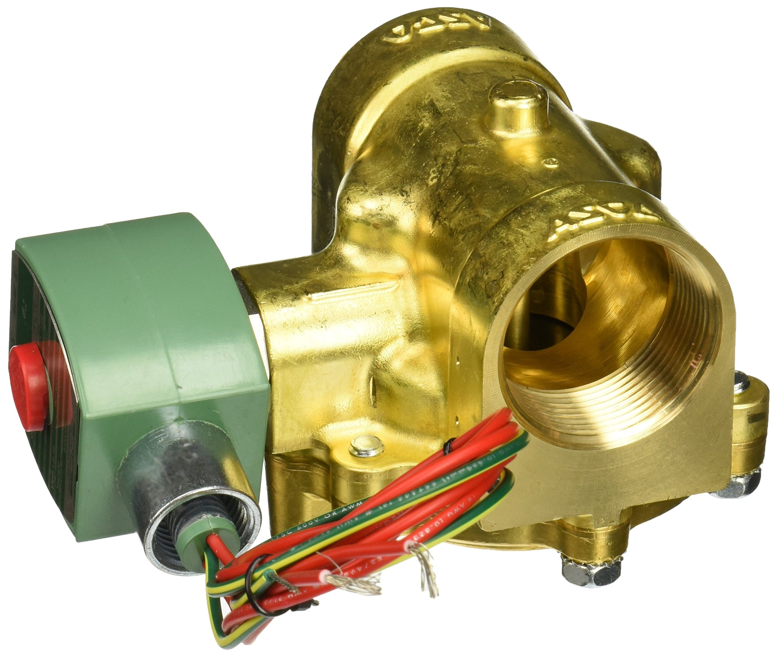 ASCO 8220G011 -120/60,110/50 Brass Body Hot Water and Steam Pilot Operated Diaphragm and Piston Valve, 50 psi Maximum Steam Operating Pressure, 1-1/2'' Pipe Size, 2-Way Normally Closed, EPDM Sealing, 1