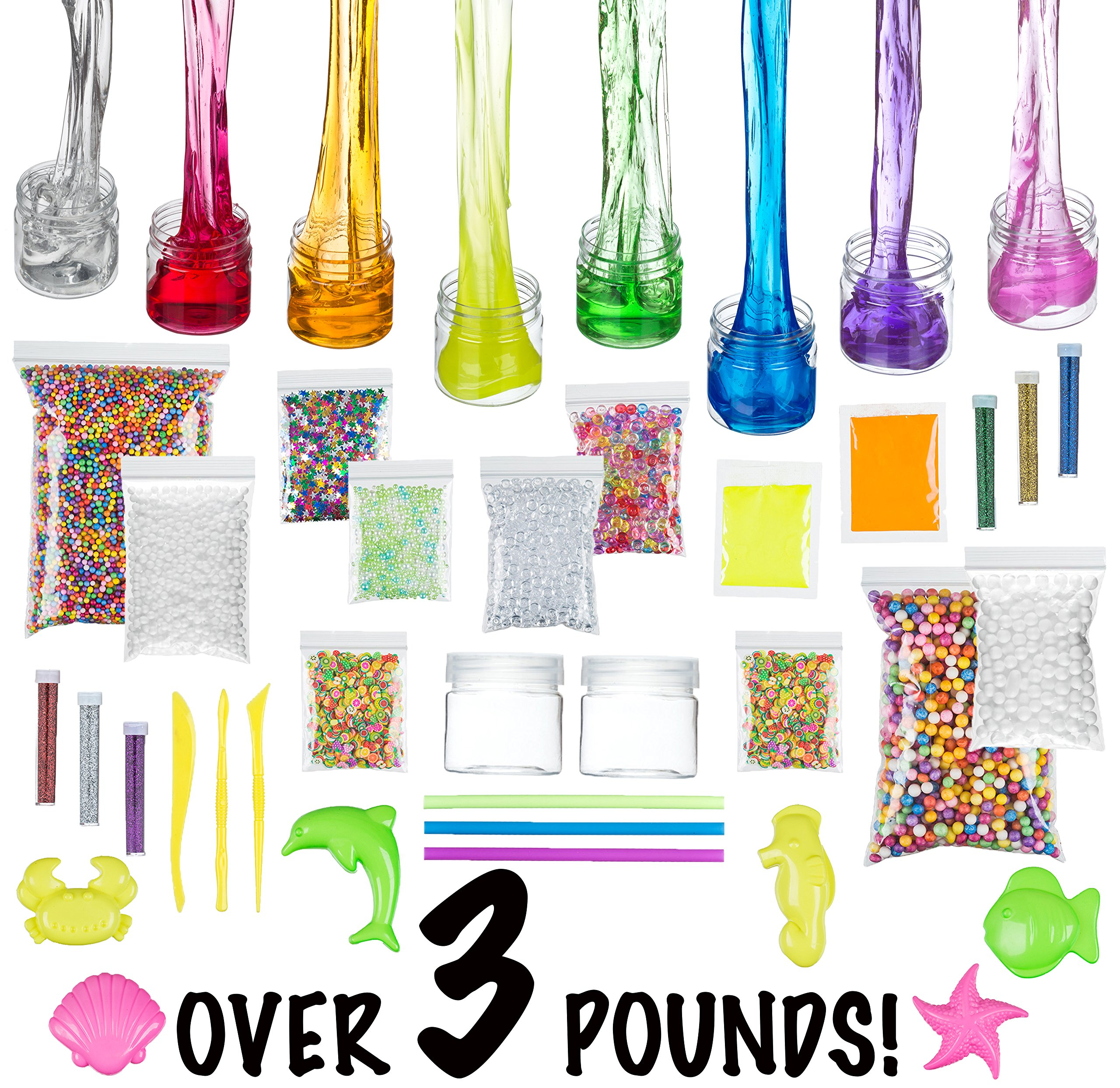 Trika Toyz Slime DIY Kit (Girls/Boys) - Slime Making/Mixing Supplies, Containers, Clear Slime 28oz/800g, Fluffy Foam, Crunchy Fishbowl Beads, Fruit Slices, Glitter, Glow Powder, & More