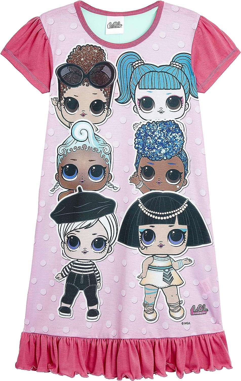 9-10 Anni, camicia da notte con 6 caratteri L.O.L Surprise Camicia da Notte Pigiama Maniche Corte Estivo Bambina Confetti Pop Abiti da Notte per Bambine