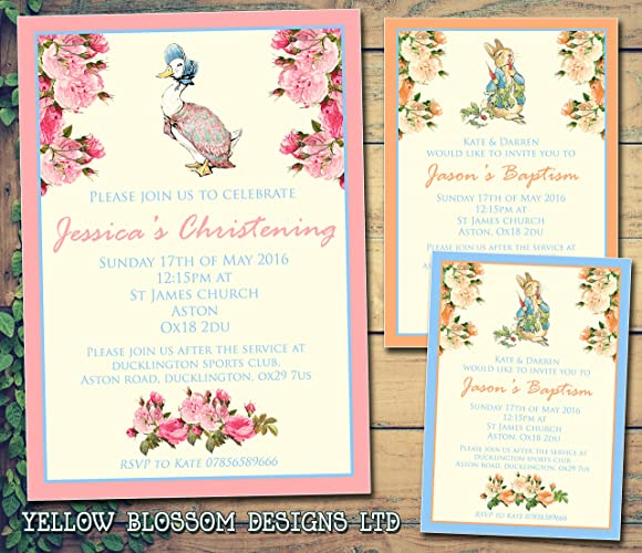 Peter rabbit jemima personalised christening naming ceremony peter rabbit jemima personalised christening naming ceremony confirmation baptism invitations printed invites boy girl joint party stopboris Images