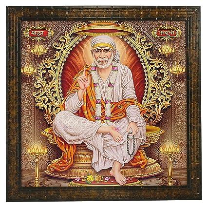Indianara Sai Baba Square Synthetic Wood Art Painting (35 5