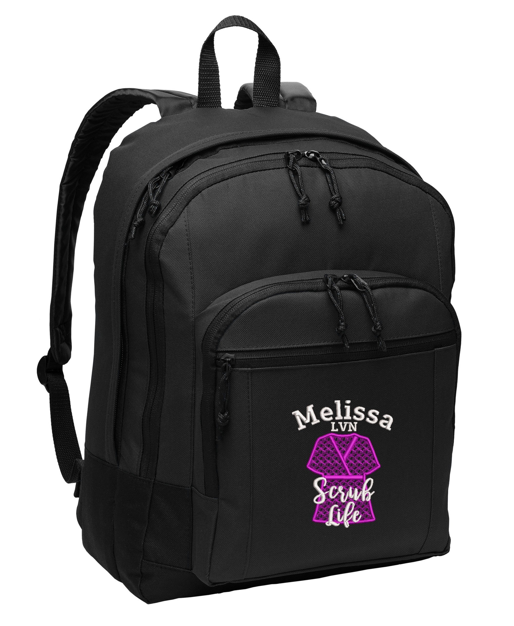 Scrub Life, RN, LVN,CNA, MA, Personalized Embroidered Backpack