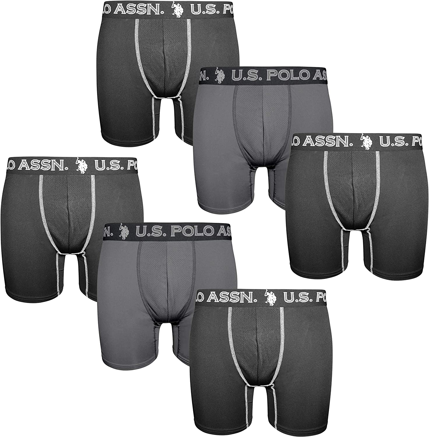 U.S. Polo Assn. Mens' Quick Dry Performance Boxer Briefs (6 Pack)