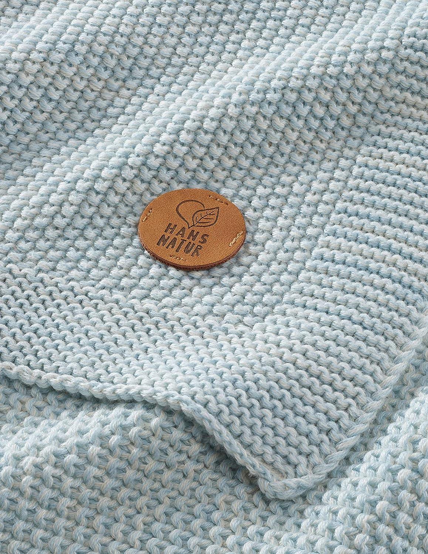 Bio Babydecke Bio-Baumwolle Strick Qualit/ät aus 100/% Bio-Baumwolle 80 x 95 cm Himmelsblau kbA GOTS zertifiziert