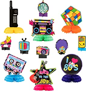 OSNIE 12Pcs 1980s Honeycomb Centerpieces Table Topper Hip Hop Party Decorations and Supplies 80's Retro Table Decor 1980s Party Favors Photo Booth Props for 80's Themed Nostalgic Party Hip Hop Party
