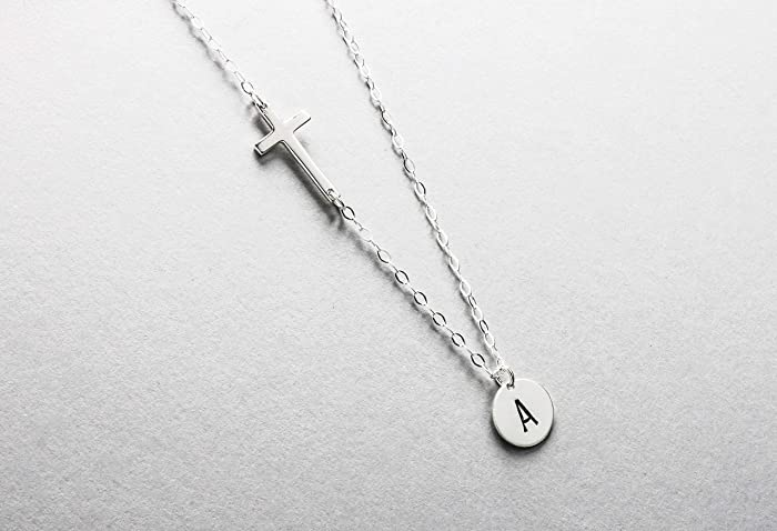 a2e68f999 Personalized Cross Necklace, Sideways Cross with Initial Disc Necklace, 100%  Sterling Silver, Mothers Necklace, Gift for God Daughter, ...
