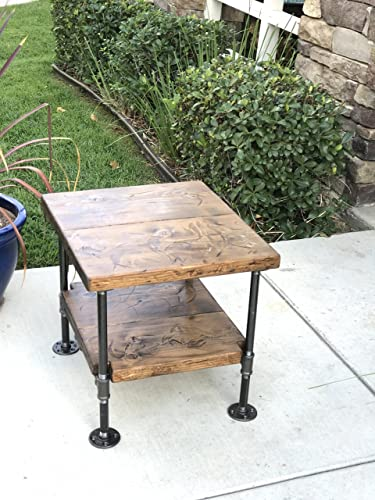 Industrial Table Nightstand Decor Steampunk Side Rustic