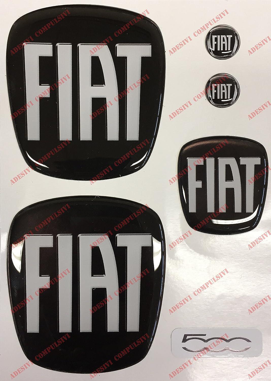 Emblema Fiat 500 delantero y trasero + emblema para volante + 2 emblemas para llavero,para capó y maletero,adhesivos fabricados en resina, efecto 3D,color ...