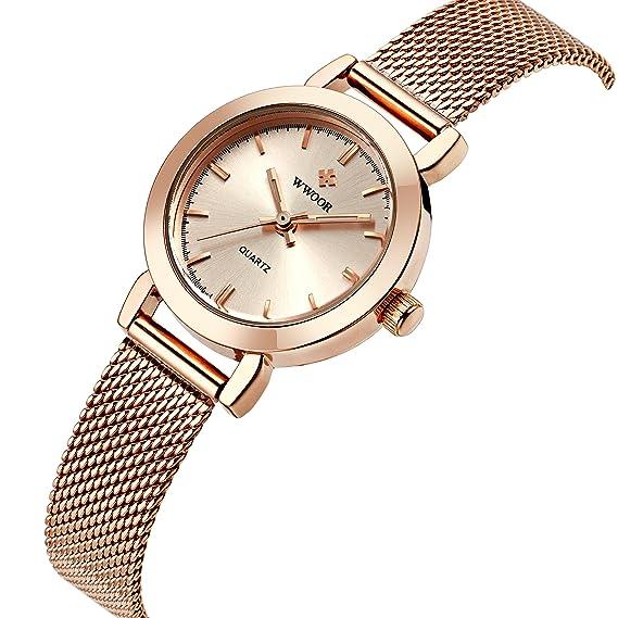 wwoor Mujer Oro Rosa inoxidable Ultra delgado reloj de cuarzo de moda elegante reloj de pulsera de negocios Casual: Amazon.es: Relojes