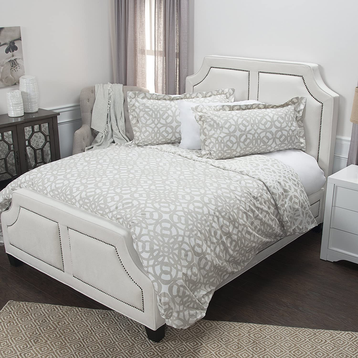 Rizzy Home Happy Together Doh Duvet, Queen, Taupe/Ivory DOHBT4453IVTA82SQ