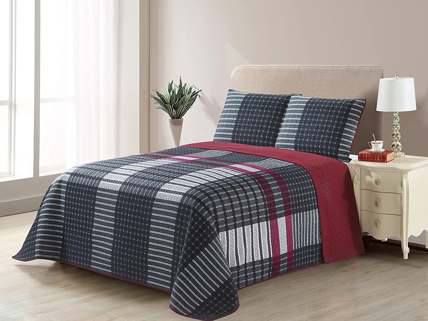 All American Collection New 3pc Plaid Printed Reversible Bedspread/Quilt Set (Full / Queen Size)