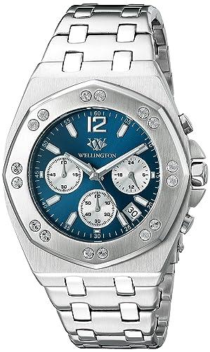 Wellington WN511-131 - Reloj analógico de cuarzo para hombre con correa de piel, color plateado: Amazon.es: Relojes
