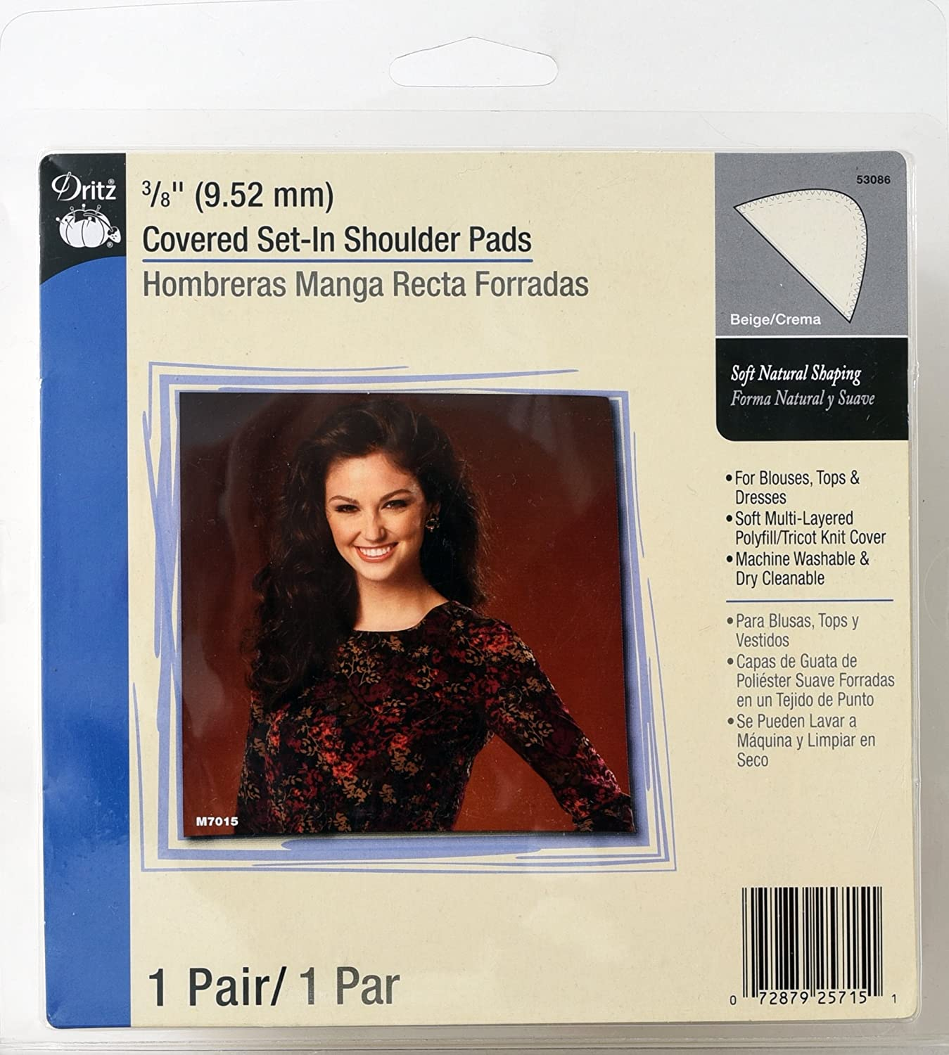 Covered Set-In 3//8-Inch White Dritz 53073-9 Shoulder Pads