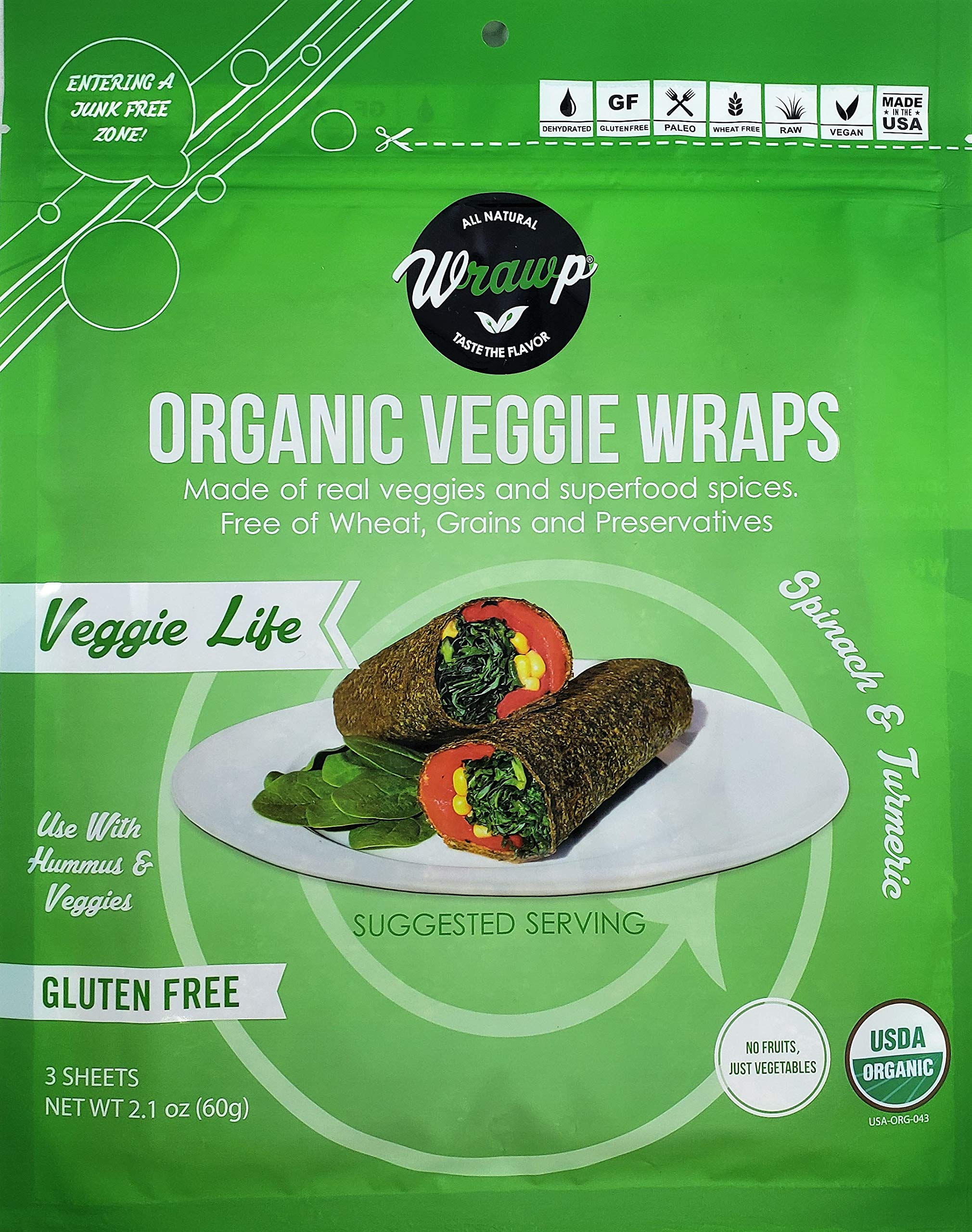 Organic Veggie Wraps - Mini Veggie Life Wraps (2 pack) by Wrawp | Perfect for Wraps, Sandwiches, Crackers, Side Bread or a Simple Snack