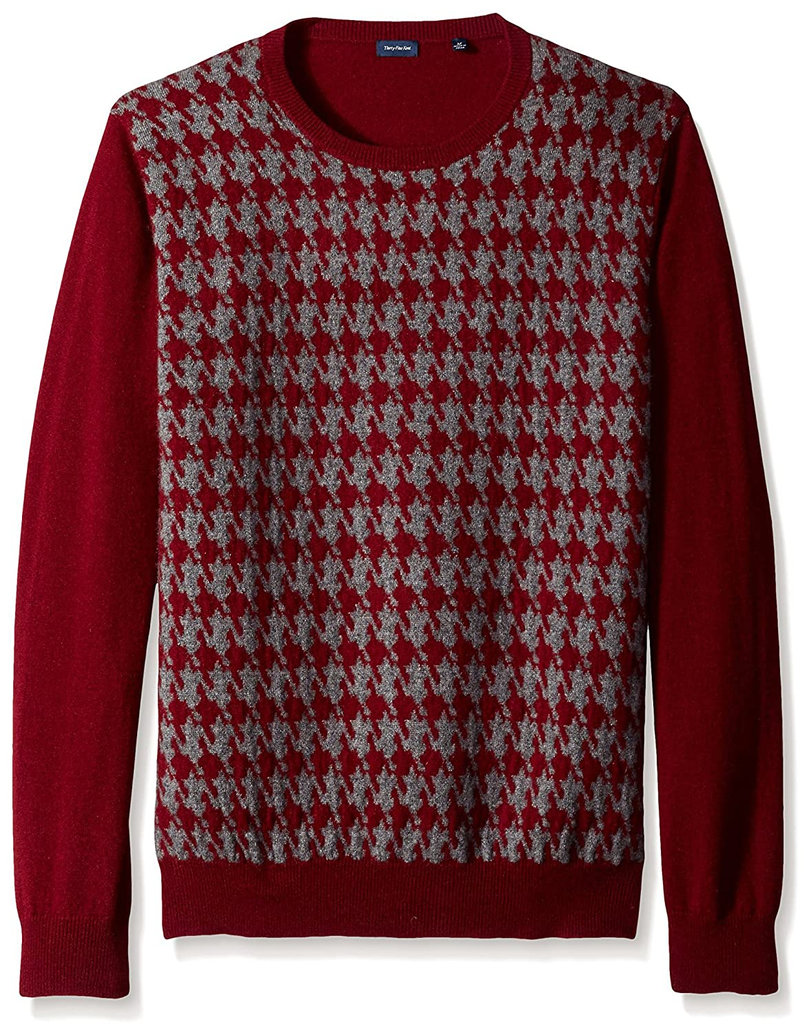 Men's Vintage Style Sweaters – 1920s to 1960s Thirty Five Kent Mens Houndstooth Cashmere Crew Neck Sweater $109.00 AT vintagedancer.com