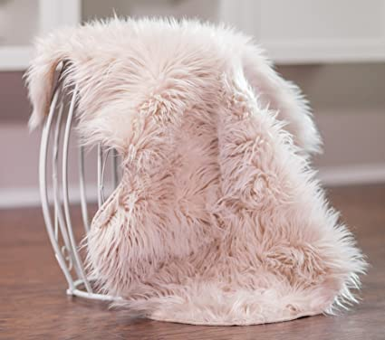 Chanasya Super Soft Faux Fur Fake Sheepskin Silver Sofa Couch Stool Casper  Vanity Chair Cover Rug