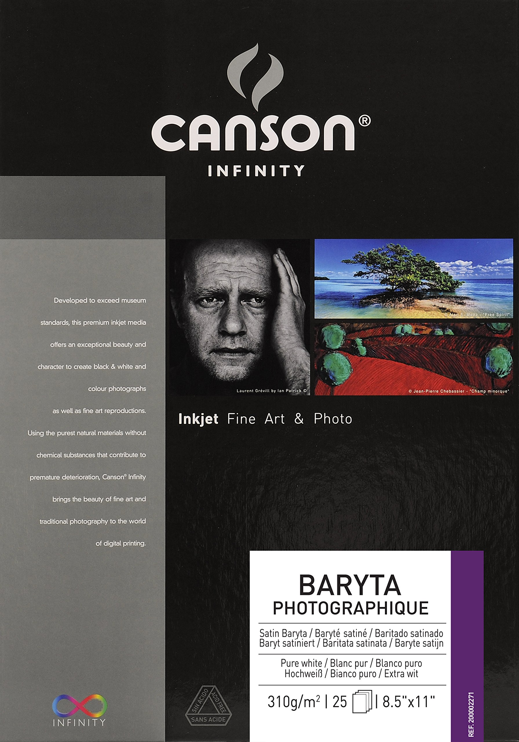 Canson Infinity Baryta Photographique Fine Art Photo Paper, Acid Free, Idea for Inkjet Portraits, 8.5 x 11 Inch, White, 25 Sheets