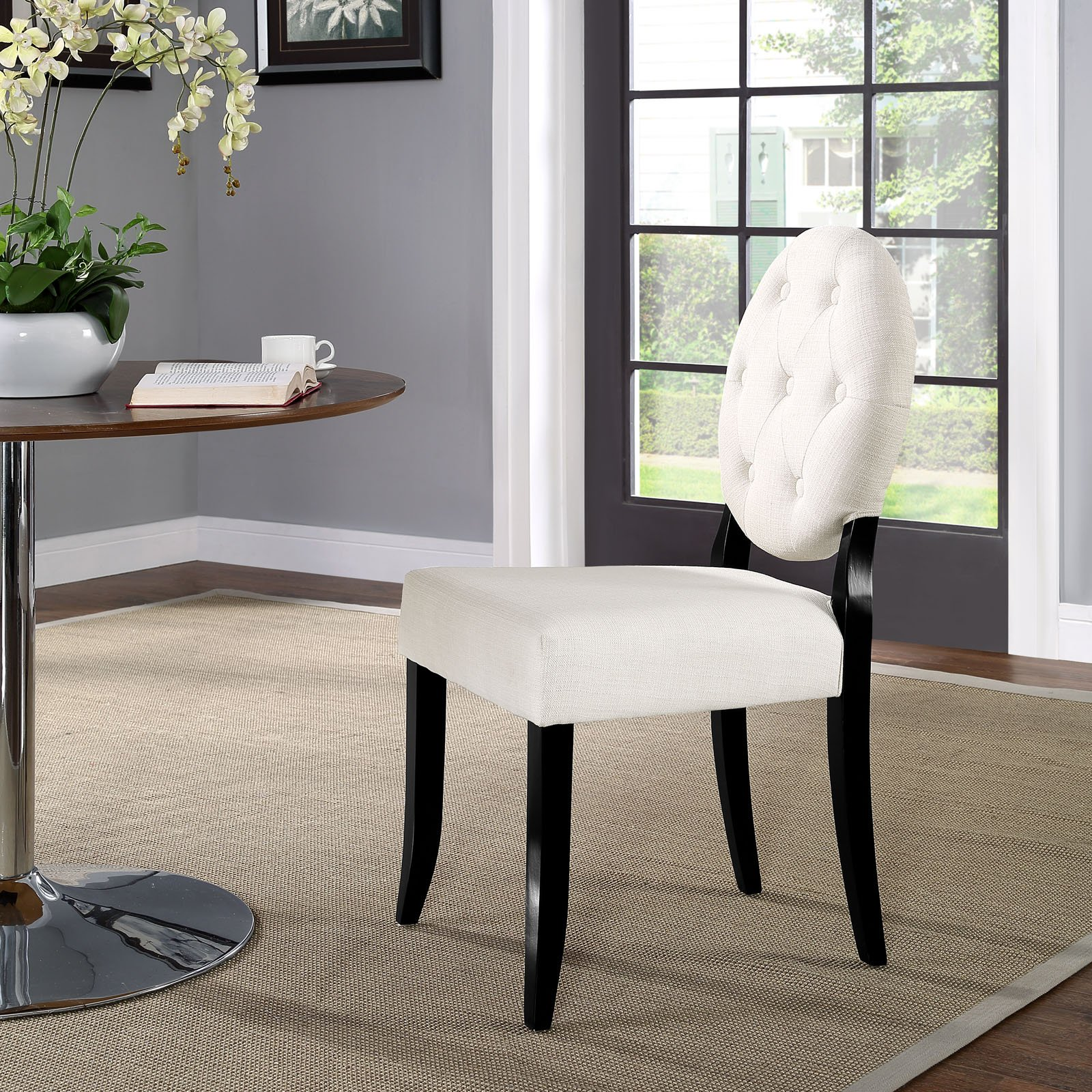 Modway Button Dining Side Chair, Beige by Modway (Image #5)
