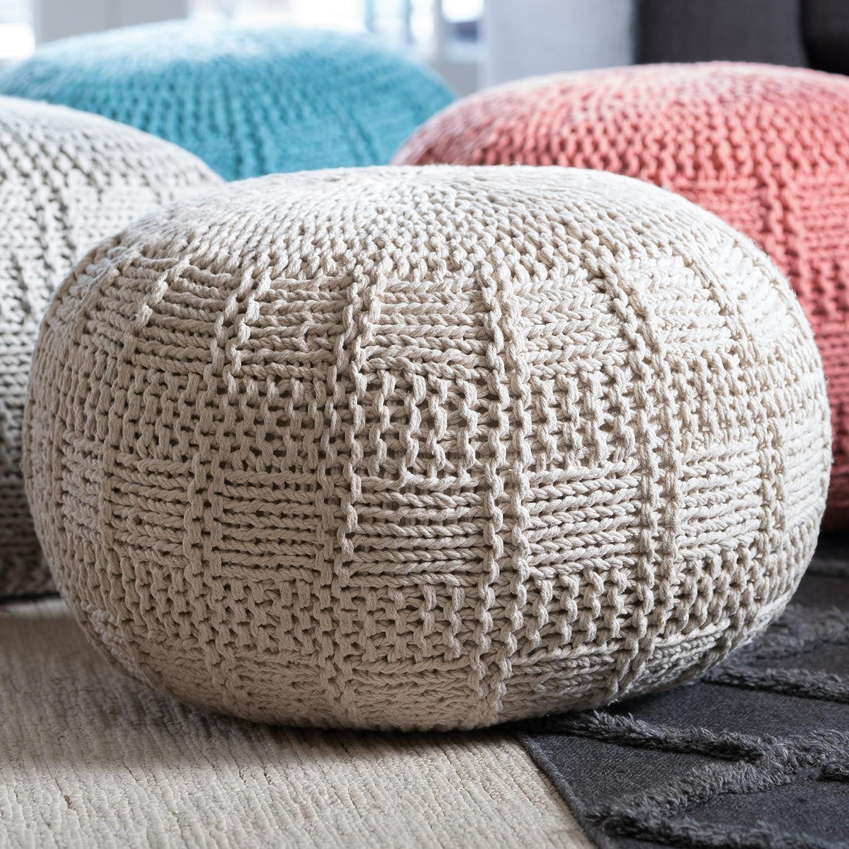 Valentine Hand Knit Fabric Pouf (Ivory) GDFStudio