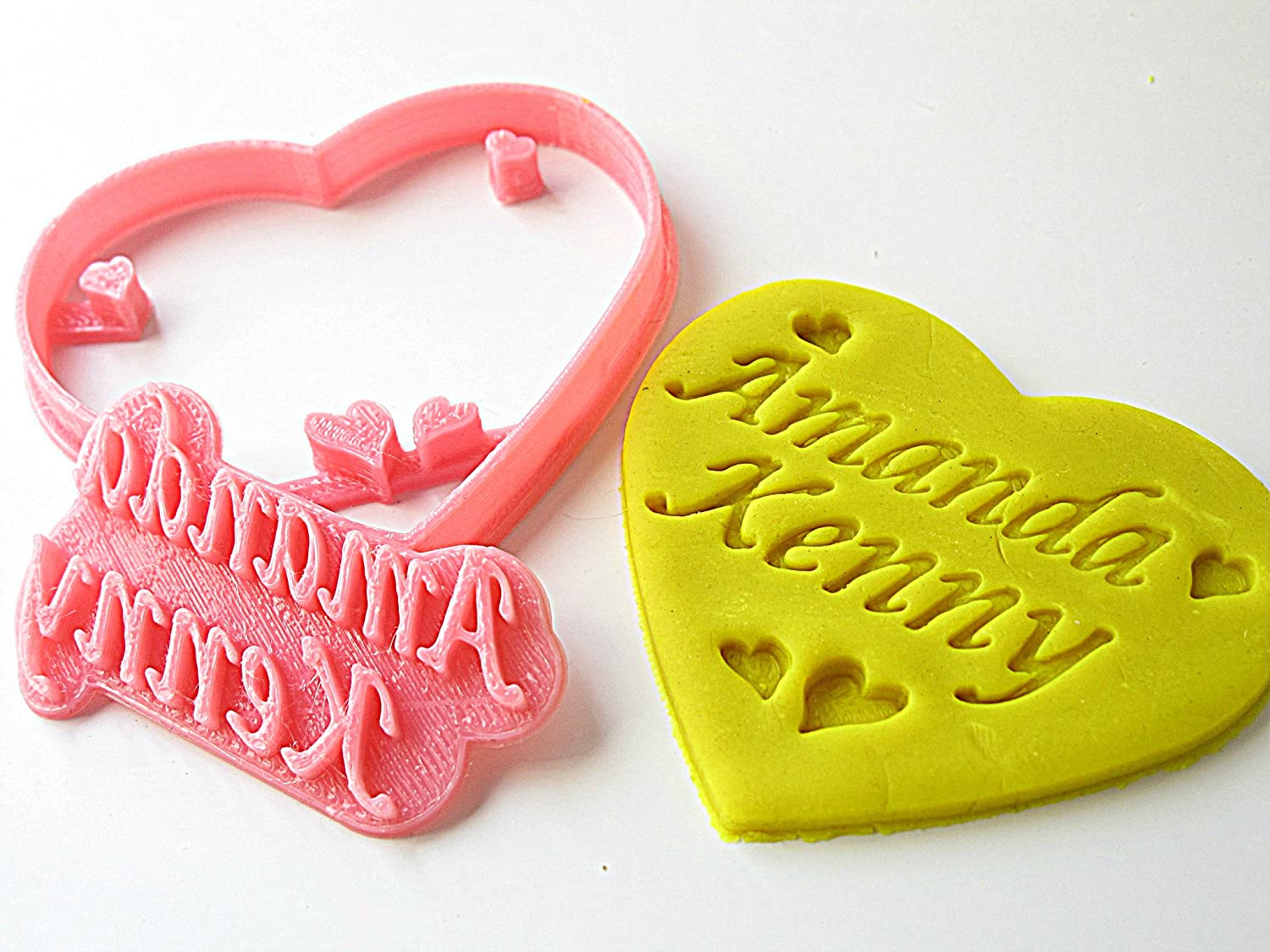 Amazon.com: Custom Heart Cookie Cutter, Personalized with 2 Names ...