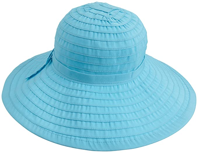San Diego Women's Ribbon Large Brim Hat,Aqua,One Size
