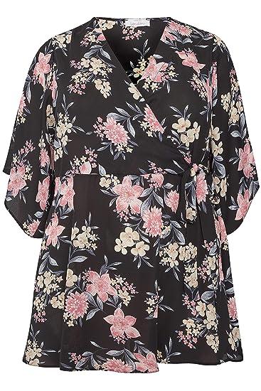 366eb20dd9b0c1 Yours Women s Plus Size London Floral Wrap Blouse with Kimono Sleeves Size  16 Black