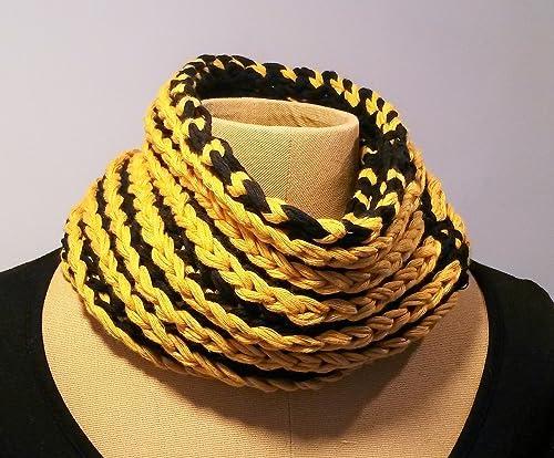 Bufanda cuello de algodón para hombre UNISEX tejida a mano, en colores amarillo ocre y negro REVERSIBLE: Amazon.es: Handmade