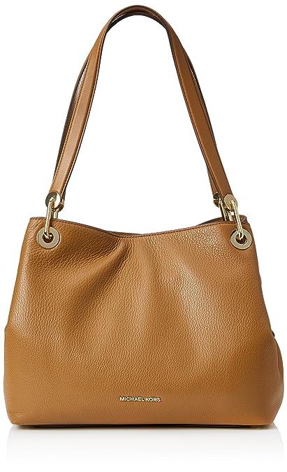 Amazon.com  Michael Kors Raven Large Leather Shoulder Bag - Acorn  Shoes c4f85fcab30