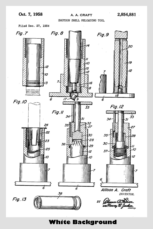 Super Amazon Com Shotgun Shell Reloader Patent Print Art Poster Choose Wiring 101 Tzicihahutechinfo