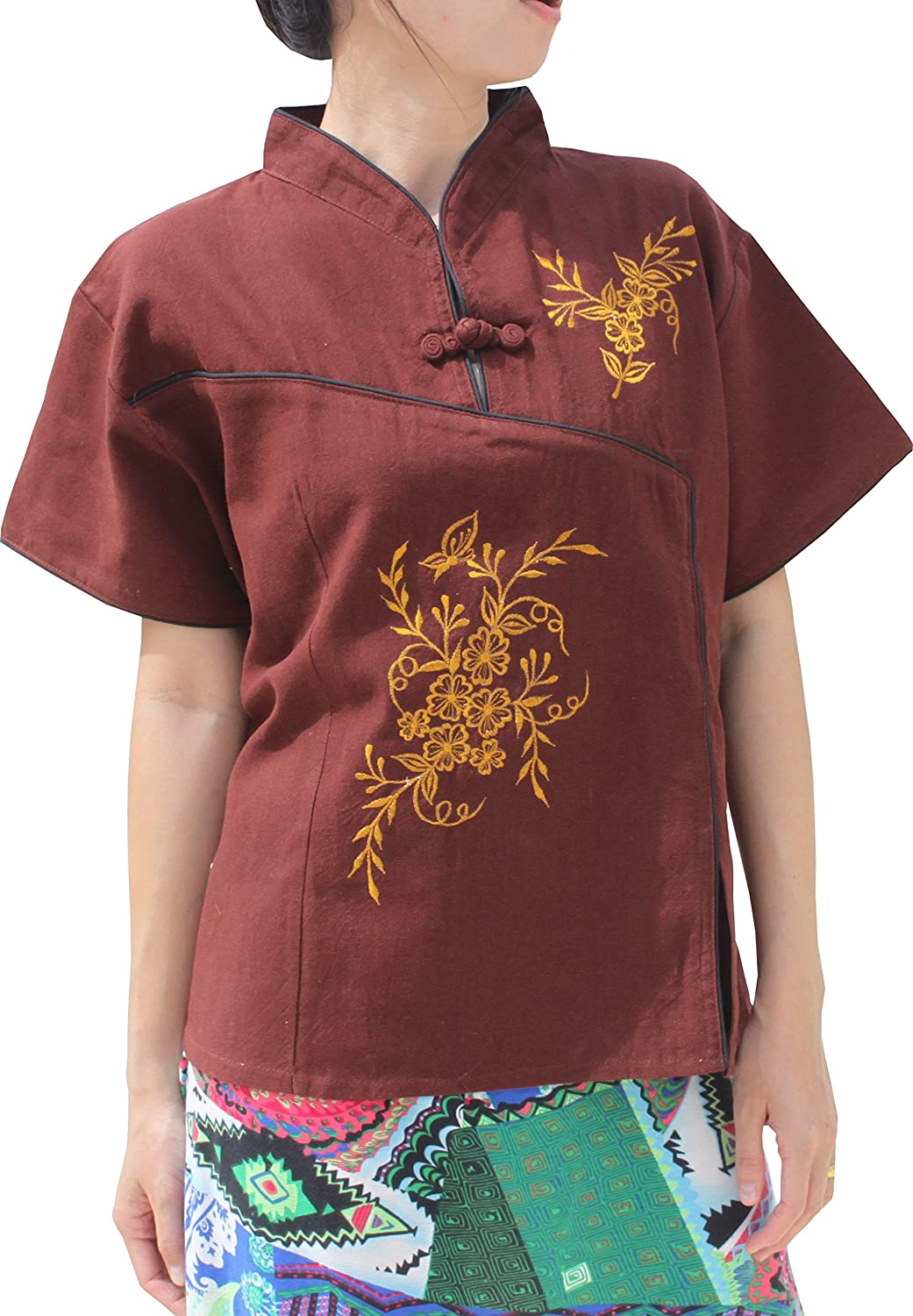 Full Funk Chinese Collar Formal Crossover Flower Shirt in YeapHai Cotton