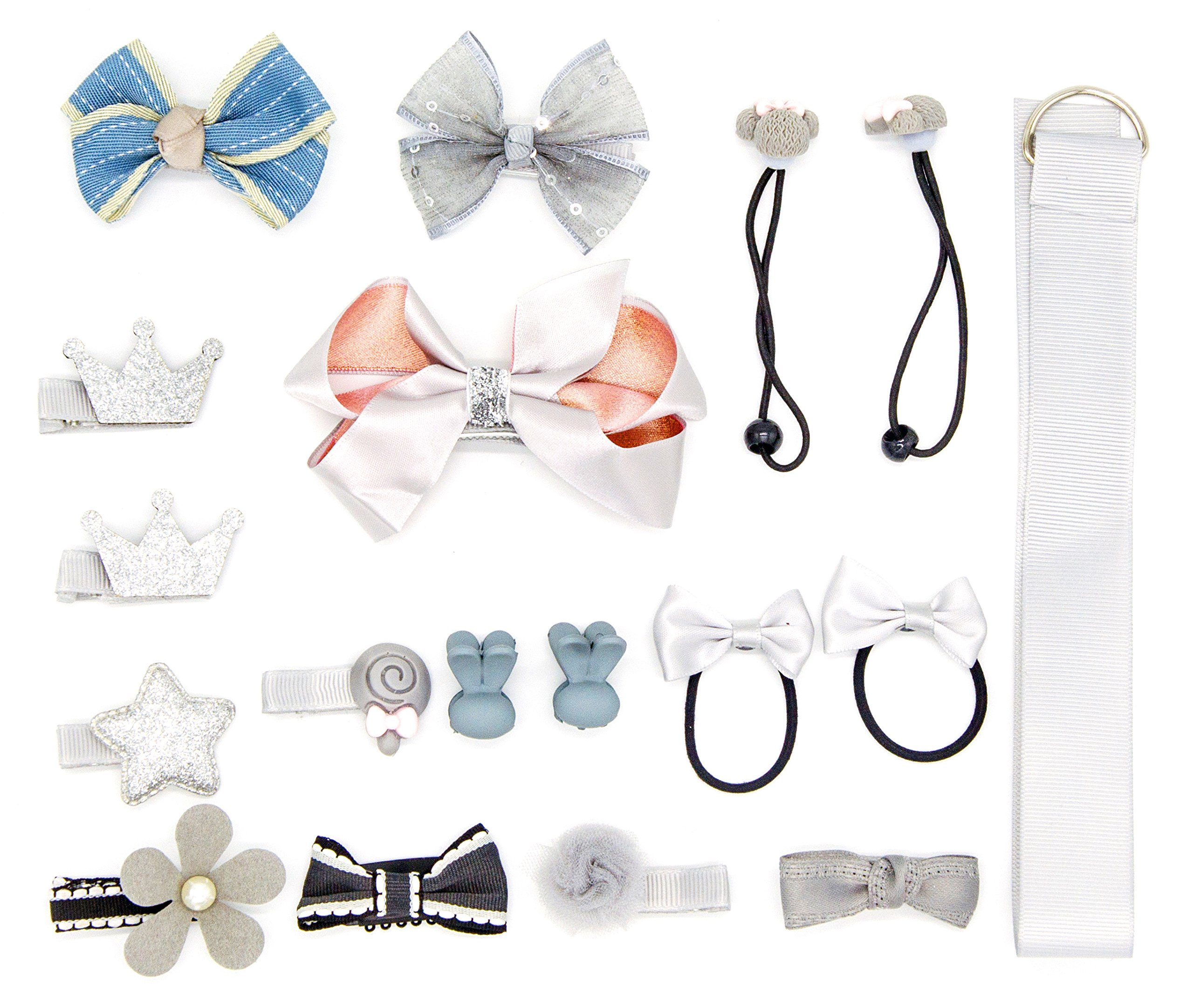 Kazoo Girls 18pcs Hair Clips Bows Barrettes Accessories Gift Box Setfajia (GREY)