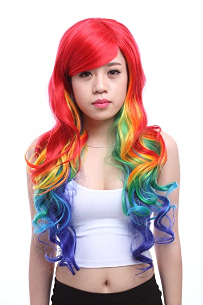 Amazon.com: Long Wavy Harajuku Rainbow Side Bangs Cosplay Women Costumes Hair Wigs Zy72: Beauty