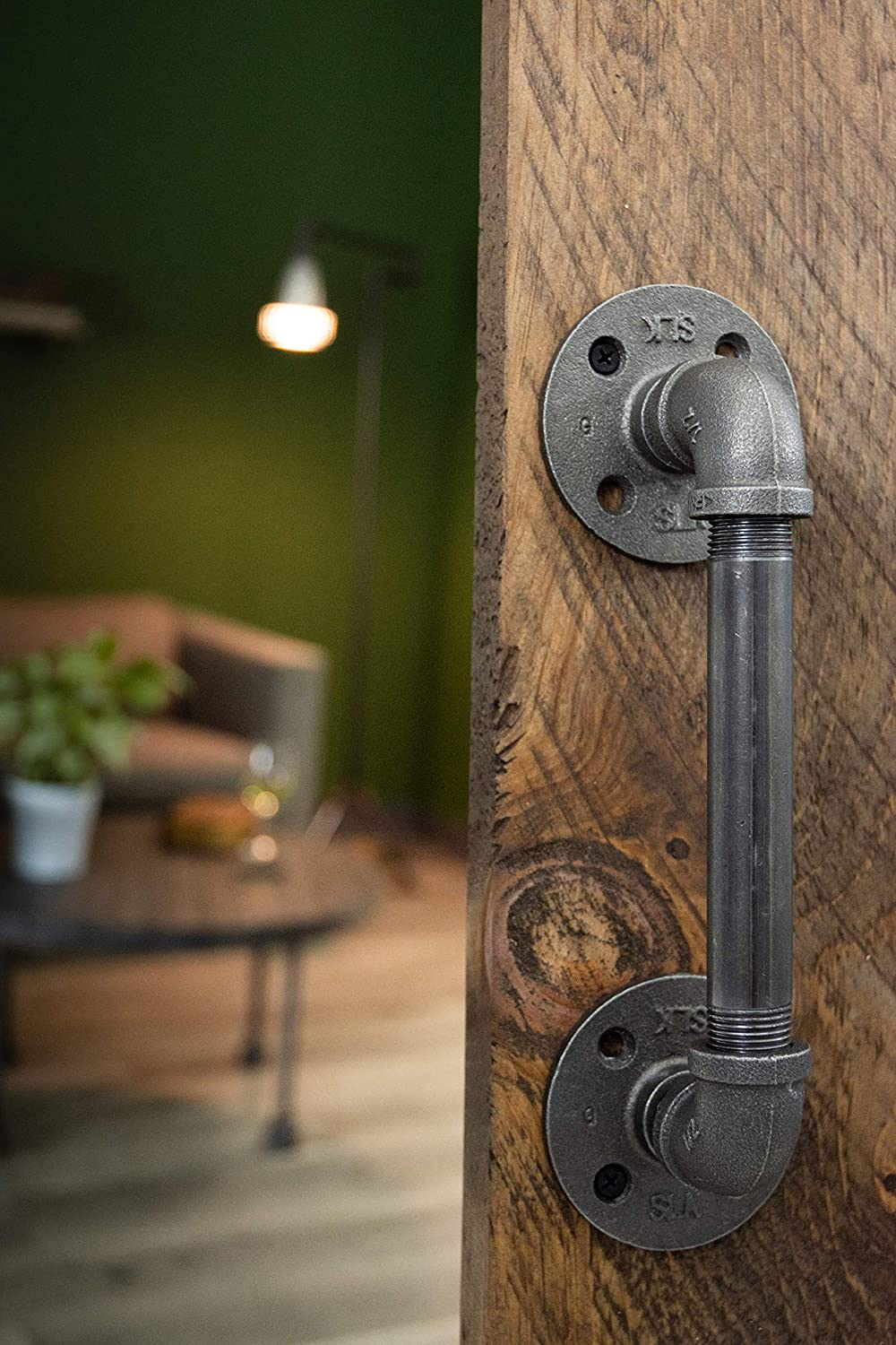 Rustic Industrial Pipe D/écor Barn Door Handle Authentic Industrial Steel Grey Iron Fittings Flanges and Pipes for Custom Vintage Hanging Doors 8 inch DIY Kit with Hardware