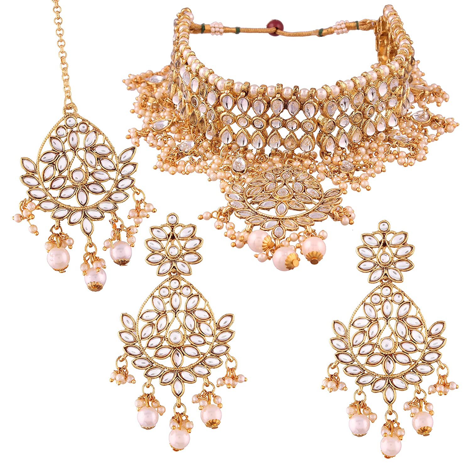 I Jewels Gold Plated Traditional Kundan Necklace Set with Earrings /& Maang Tikka for Women K7068W