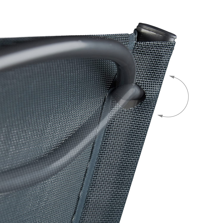 Relaxdays 10020943 Sedia Pieghevole da Balcone Metallo Plastica Seduta da Giardino HxLxP 87 x 55 x 48,5 cm Grigio Antracite