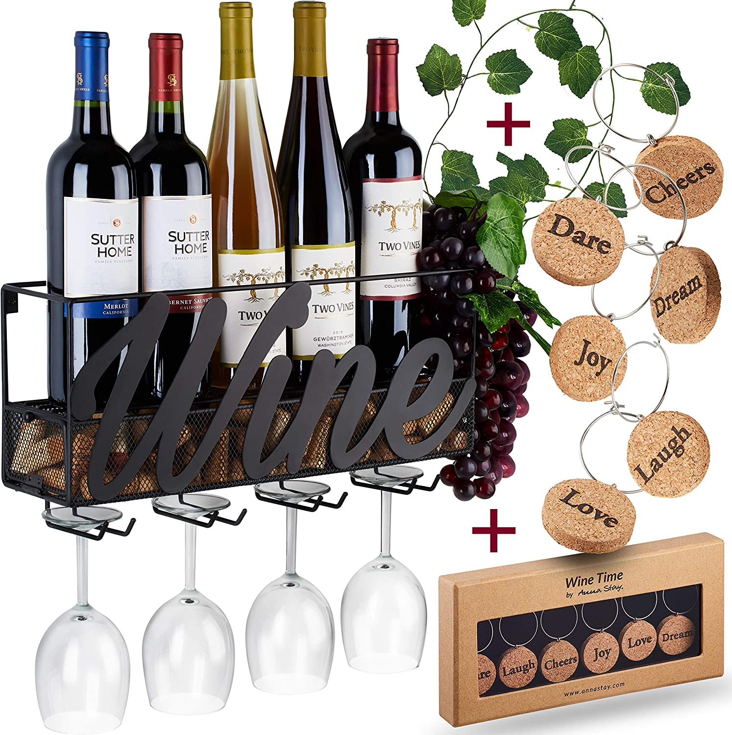 Wall Mounted Wine Rack Bottle Glass Holder Cork Storage Store Red White Champagne Comes With 6 Cork Wine Charms Home Kitchen Décor Designed