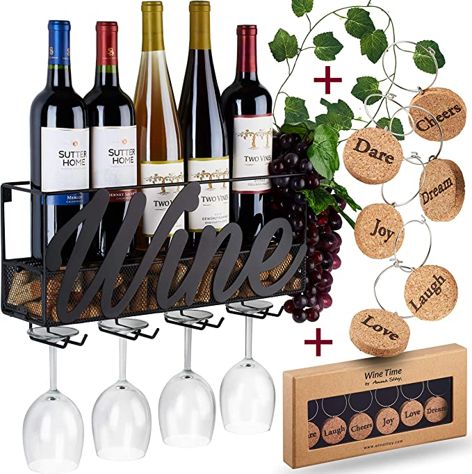 Amazon Com Wall Mounted Wine Rack Bottle Glass Holder Cork Storage Store Red White Champagne Comes With 6 Cork Wine Charms Home Kitchen Décor Designed