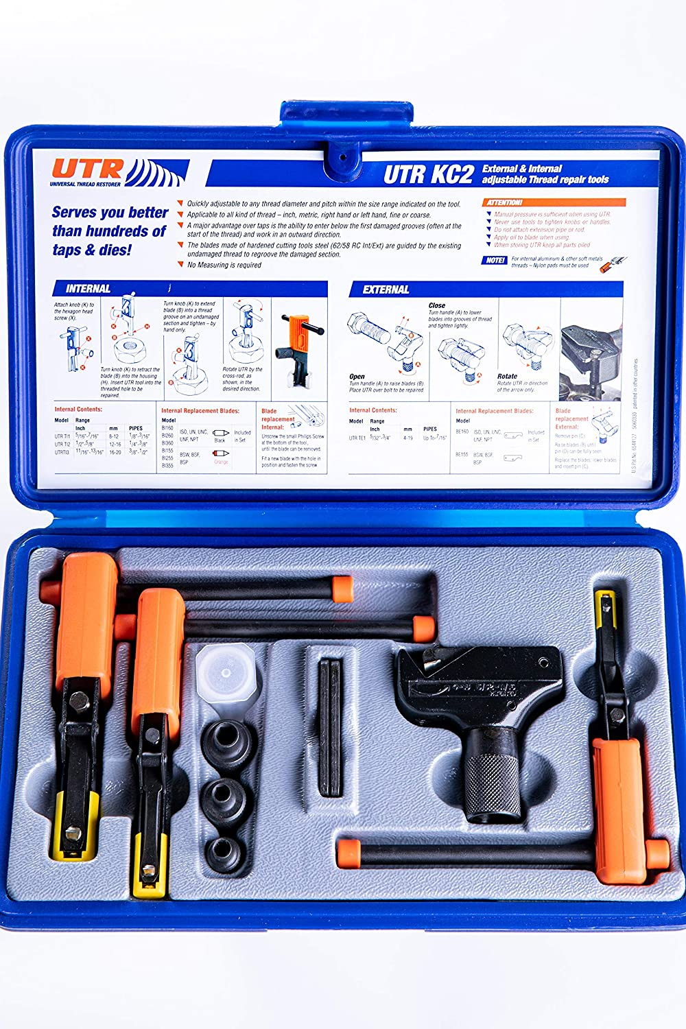 UTR KC2 - External & Internal Adjustable Restorers – Universal Thread Repair Tool Kit. Easily Replaces Hundreds of Taps and Dies. All In One Patented Solution.