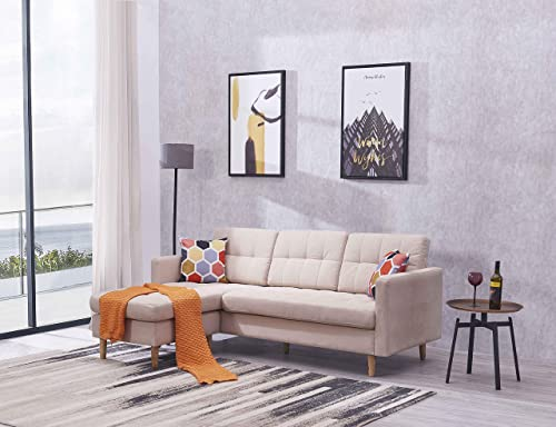 EiioX Linen Fabric Sectional Sofa L-Shape Couch, Mid-Century Modern Chaise Lounge for Living Room, 59.4 L 82.3 W 34.3 H, Beige