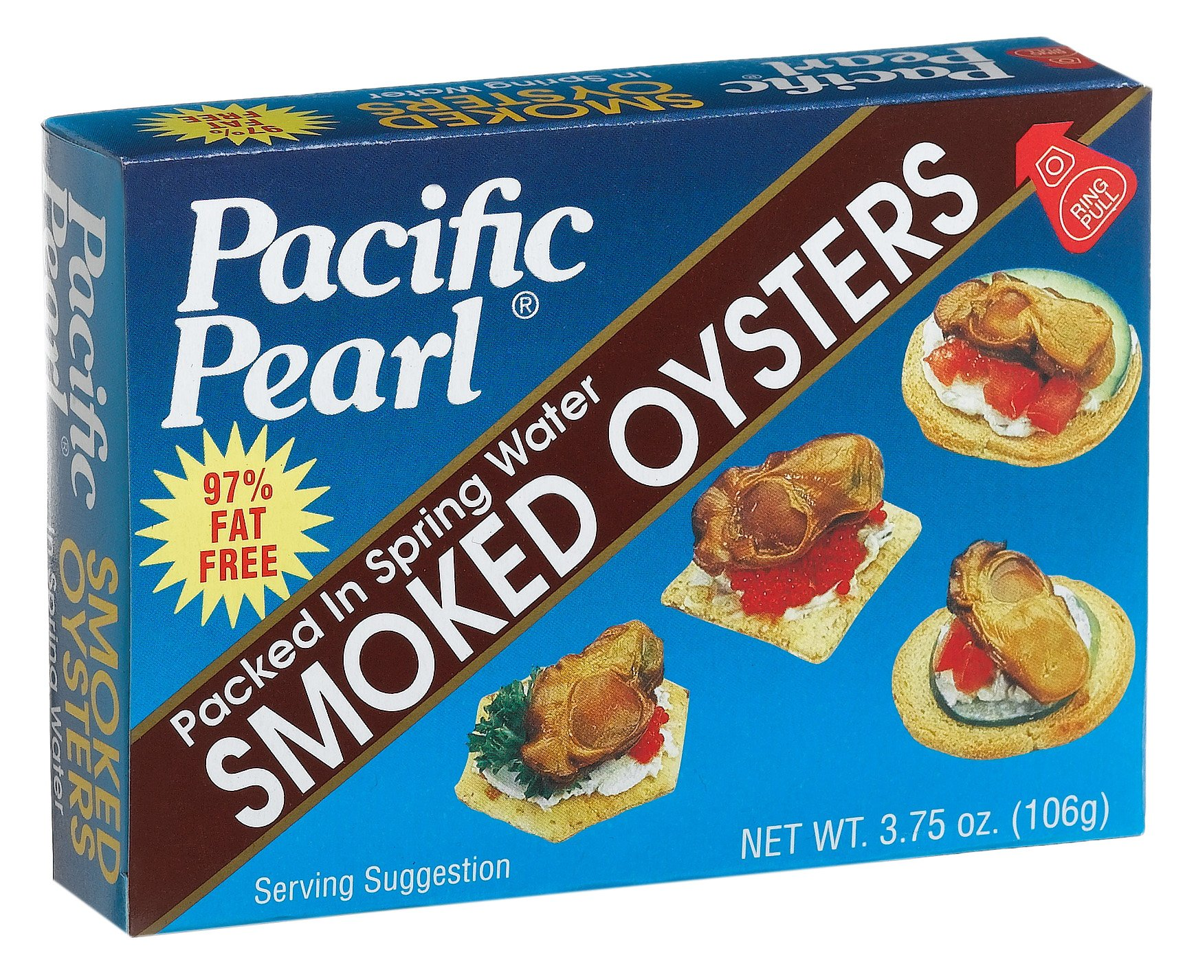 Pacific Pearl Smoked Oysters in Spring Water, 3.75-Ounce Cans (Pack of 12)