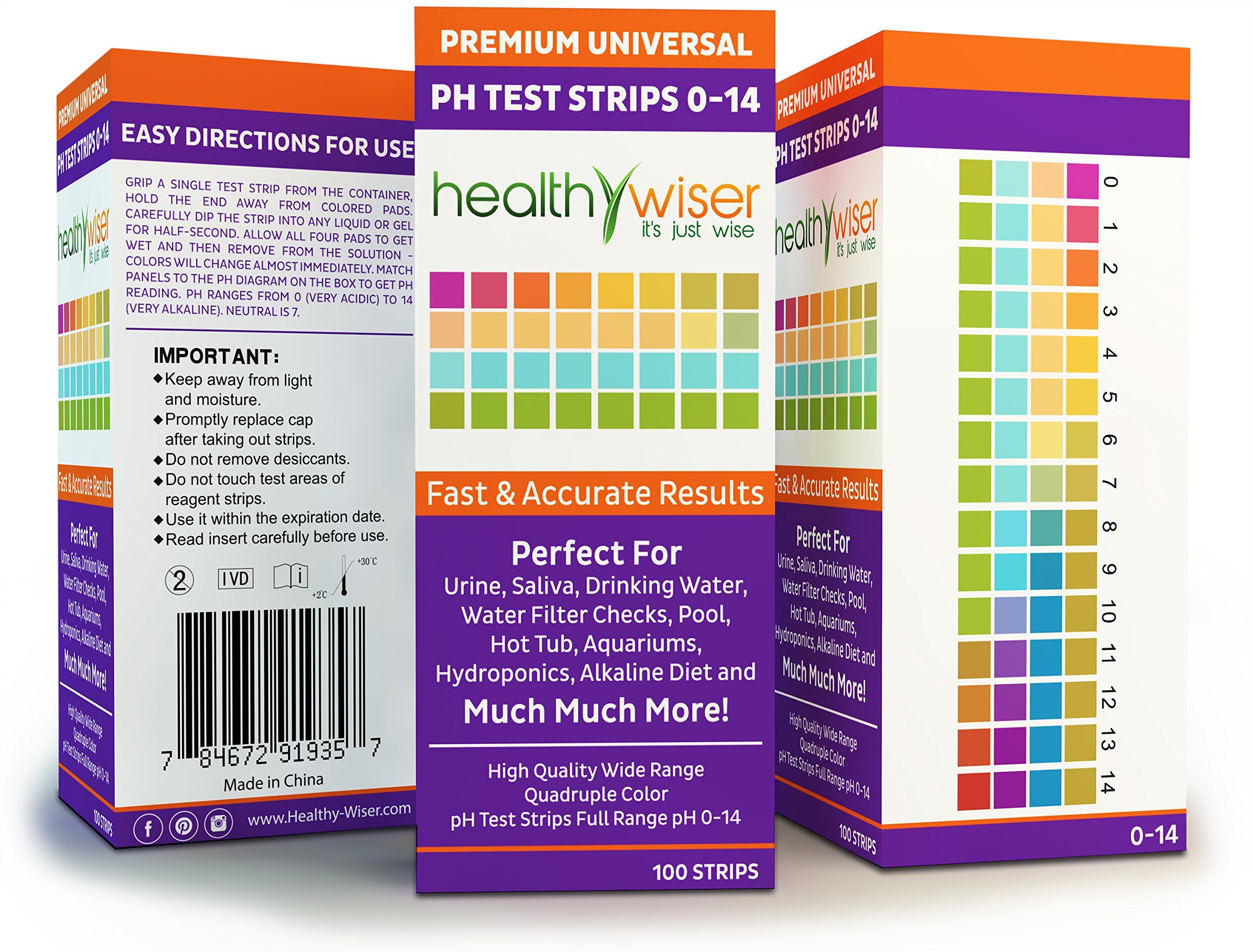 pH Test Strips 0-14, Universal Strips To Test Water Quality For Swimming Pools, Hot Tub, Hydroponics, Aquarium, Kombucha, Household Drinking Water, Soil, Urine & Saliva, Alkaline & Diabetic Diet 100ct by HealthyWiser (Image #4)