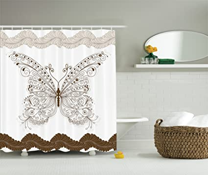 Charmant Ambesonne Brown And White Shower Curtain Butterfly Decor, Shady Butterflies  Wings Floral Rustic Fashion Style