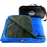 DOWN UNDER OUTDOORS Large Waterproof Windproof Extra Thick Quilted Fleece Stadium Blanket, Machine Washable Camping…