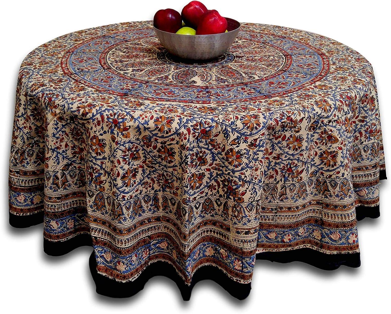 Cotton Block Print Tablecloth For Round Tables Kalamkari Mandala Paisley Floral Handmade 72 Inch Round Home Kitchen Amazon Com
