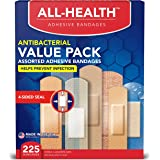 All Health Antibacterial Bandage Family Value Pack, Variety 225 ct | Various Sizes for First Aid and Wound Care